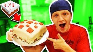 MAKING A REAL EDIBLE MINECRAFT CAKE! DIY CAKE!