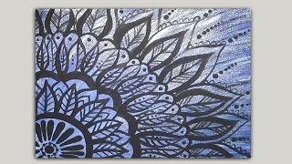 getlinkyoutube.com-Painted Mandala Doodle Acrylic Painting on Canvas Part 1 of 2