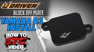 getlinkyoutube.com-Driven Block Off Plate install on a 2015 Yamaha YZF-R3 from Sportbiketrackgear.com