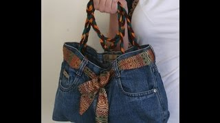 getlinkyoutube.com-DIY Fashion Jeans BAG ( recycled denim) DIY Bag Vol 1A