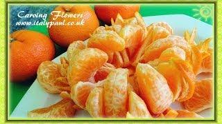 getlinkyoutube.com-Art In Mandarin Orange Flower - Fruit Carving | Clementine Sunflower Garnish | Fruit Decoration