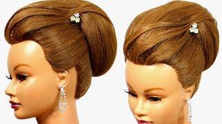 getlinkyoutube.com-Bun updo. Hairstyle for medium hair, tutorial.
