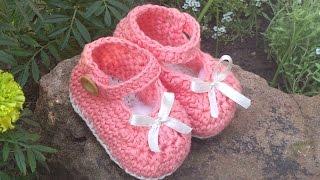 getlinkyoutube.com-Merceditas a crochet con lazo de raso - Parte 1( Suela )