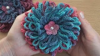 getlinkyoutube.com-Crochet flower tutorial easy  for beginners