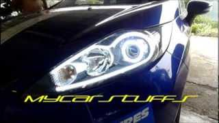 "getlinkyoutube.com-Ford Fiesta MK7 DIY LED tube with 2.5"" projector and LED angel eyes"
