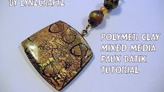 getlinkyoutube.com-Polymer Clay Mixed Media Faux Batik tutorial