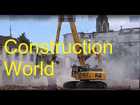 Excavator Komatsu PC 490 and JCB 370 demolition site