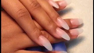 getlinkyoutube.com-How to Acrylic Almond Finger Nails Shape.