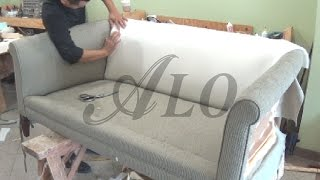 getlinkyoutube.com-DIY: HOW TO REUPHOLSTER A FURNITURE WITH ROLL ARMS - ALO Upholstery