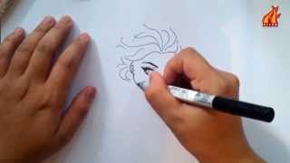 getlinkyoutube.com-easy how to draw elsa frozen in 4 minutes