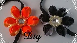 getlinkyoutube.com-Flor de fita de cetim com duas cores \ DIY - Satin ribbon flower with two colors