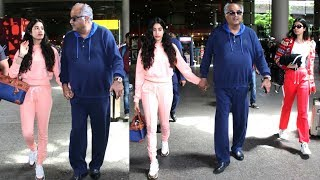 Jhanvi Kapoor Returns From LONDON Vacation With Sister Khushi Kapoor & Father Boney Kapoor | Spotted