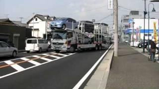 神戸トヨペット 自動車運搬車 大型 国道2号線上で切り返し入庫