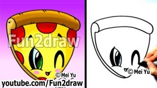 getlinkyoutube.com-Kawaii Food - How to Draw Kawaii Stuff EASY! - Pizza - Best Drawing Channel - Fun2draw