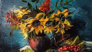 """getlinkyoutube.com-Натюрморт маслом. """"Подсолнухи"""" (как рисовать цветы)"""