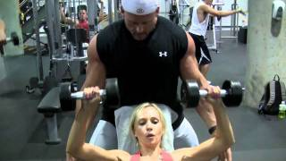 getlinkyoutube.com-Female Fitness Model Training For Chest, Biceps, Triceps