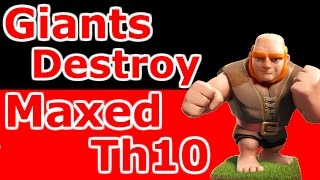 getlinkyoutube.com-Maxed Th10 War Base Destroyed By Giants And Earthquake Spells - Clash Of Clans