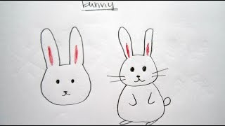 How to Draw Cute Cartoon Bunny / Rabbit 畫卡通兔子 - Easy Drawing Tutorial for Beginners