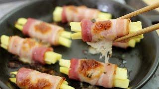 getlinkyoutube.com-정말 맛있는 고구마요리★돌돌 말아주면 있어보이는 고구마 베이컨말이