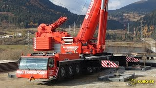 getlinkyoutube.com-Liebherr LTM 1500-8.1 - mobile crane lifting concrete beam