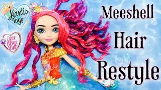 getlinkyoutube.com-How To Curl Meeshell Mermaid Doll Hair Restyle Tutorial - Artwork Version | Ever After High