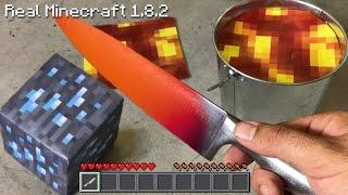 getlinkyoutube.com-Real Life Minecraft - 1000 degree KNIFE VS DIAMOND ORE