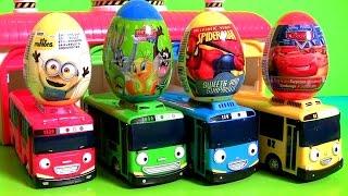 getlinkyoutube.com-Brinquedos Tayo Garagem de Ônibus Surpresa em Portugues BR Toys Pernalonga MINIONS Spiderman 꼬마버스 타요