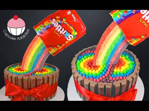 Skittles Rainbow Cake! How to make a Skittles Cake - Cupcake Addiction & Cupcakes & Cardio!