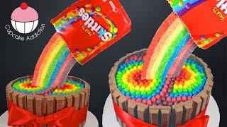 getlinkyoutube.com-Skittles Rainbow Cake! How to make a Skittles Cake - Cupcake Addiction & Cupcakes & Cardio!