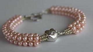 getlinkyoutube.com-Beaded Bracelet with glass pearls and  metal bead Браслет из жемчуга и металлическим камнем