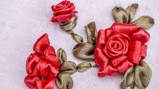 getlinkyoutube.com-Ribbon Flowers|Red Roses|Embroidery Stitches by Hand|HandiWorks #73