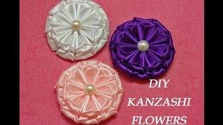 getlinkyoutube.com-DIY kanzashi flowers,kanzashi tutorial,how to make,easy,kanzashi flores de cinta