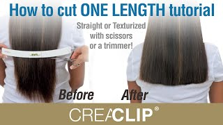 getlinkyoutube.com-How to cut ONE LENGTH tutorial- Straight or Texturized with scissors or  a trimmer!