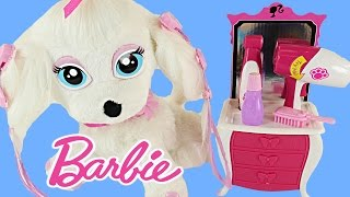 getlinkyoutube.com-BARBIE Glam Up Your Puppy - Color Change Hair, Nails + Eyeshadow Barbies Pampered Pup Salon Toy
