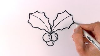 getlinkyoutube.com-How to Draw Cartoon Christmas Mistletoe