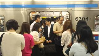 Morning Rush Hour Subway Commute in Japan