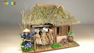 getlinkyoutube.com-Billy Miniature Tono Thatched Roof House Kit ミニチュアキット 遠野の曲り家作り