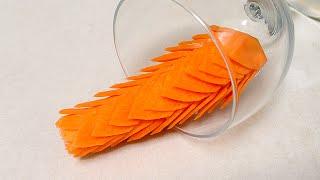 getlinkyoutube.com-Lion Rice Flower From Carrot - Intermediate Lesson 28 By Mutita Art Of Fruit & Vegetable Carving