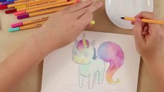 getlinkyoutube.com-How to draw a unicorn (STABILO Tutorials, intermediate)