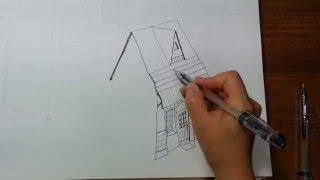 getlinkyoutube.com-[pen-drawing] how to draw a house simply