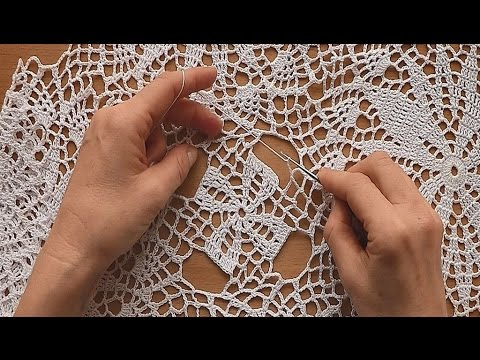 CROCHET How to join motifs  for tablecloth Part 7