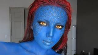 getlinkyoutube.com-Mystique (X-men) Make-up Transformation !!!