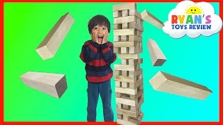 getlinkyoutube.com-GIANT JENGA like Wooden Tumbling Tower Family fun game for kids Kinder Egg Surprise Toys