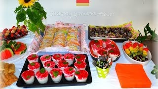 getlinkyoutube.com-Fingerfood Canapes Appetizer Desserts, Party Food Buffet
