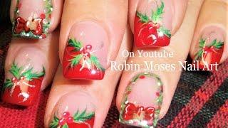 getlinkyoutube.com-Easy Christmas Nails!   Holly and Xmas Wreath Nail Art Tutorial Design