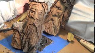 getlinkyoutube.com-Wood Spirit Carving tips before detailing hair.