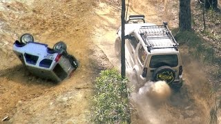 getlinkyoutube.com-Crazy Suzuki Jimny and Jeep Wrangler JK offroad 4x4 - bonus rc rollover action
