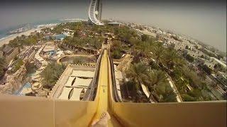 getlinkyoutube.com-Самый страшный аттракцион в аквапарке Дубае, водная горка камикадзе «Leap of Faith» GoPro Hero 3