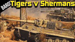 getlinkyoutube.com-War Thunder Gameplay - 7 Tiger Tanks vs 25 Sherman Tanks (War Thunder Tanks)
