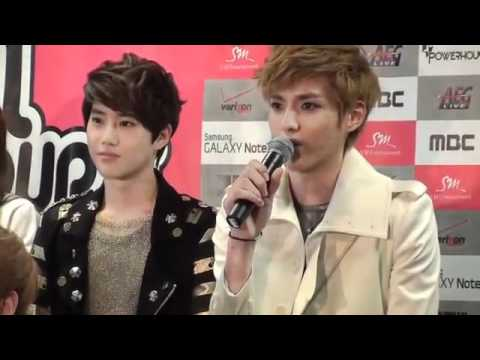 [HD] 120521 EXO M Kris and SNSD Sooyung - Speaking in English (Press Conference)